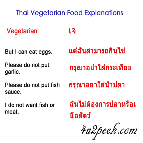 what is the word for vegetarian in Thai