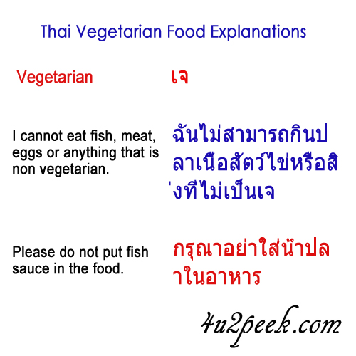 asking for vegetarian food in Thailand Bangkok